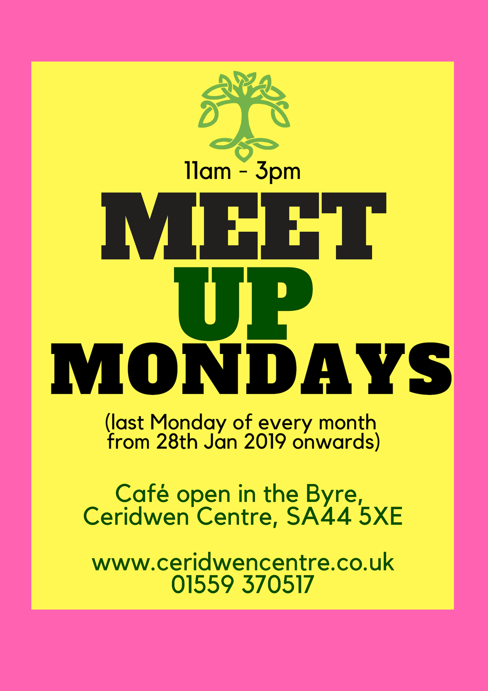 Meet up Mondays (last monday of every month - starting 28th Jan 2019)